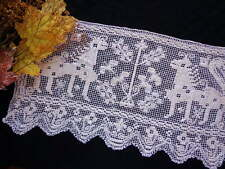 Small Antique Handmade Italian Tablecloth Figural Bosa Lace Horned Lions!