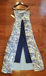 Kay Unger Strapless Floral Jacquard Jumpsuit with Tapered Leg and Full Skirt