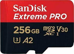 SanDisk Extreme Pro 256 GB microSDXC Memory Card + SD Adapter with A2 App Perfor