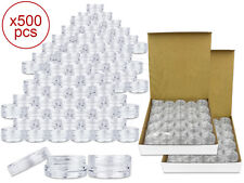 500 Pieces 3 Gram/3ml Plastic Round Clear Sample Jar Containers with Clear Lids