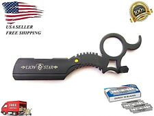 New Steel Straight Edge Barber Razor Shaving Knife Shavette and free 10 Blades