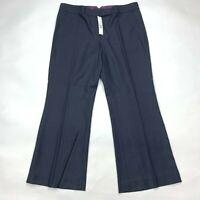 Elie Tahari Navy Blue Cropped Pants Pockets Flat Front Wool Blend Women 12 NWT