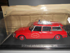 CITROEN ID 20 BREAK AMBULANCE POMPIERS 1972 DS COLLECT ATLAS 1:43
