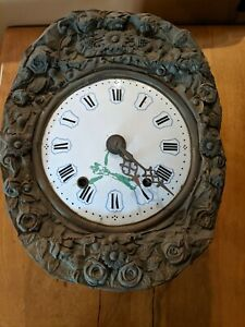 Antique French Morbier Wall Clock Movement  Porcelain Face