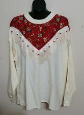 Hazelwoods Southwestern Rodeo Western Womens XL Off White Shirt Fringe Beads
