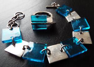 Handmade TEGO & CO Vintage Sterling Silver Blue Lucite Bracelet & Ring Set