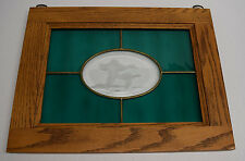 """Green Stained Glass Ducks Etching Window Hanging 15"""" x 11 1/2"""" Man Cave Cabin"""