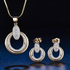 Eternity Gold Filled Sapphire Crystal Earring Necklace Set Engagement Jewelry