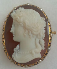 Beautiful Museum Quality Antique Hardstone Hera Cameo Perfect Enamel 14K Brooch
