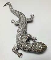 Rieeesige Echse Brosche 800 Silber Markasit Vollbesatz Art Deco 13,5 cm lang /F7