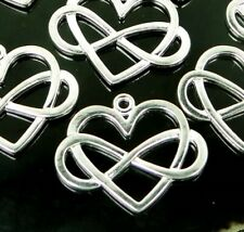 6 Infinity Heart Charms Silver Plated Pendants Polyamory Symbol Sign 22x27mm