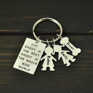 Personalized Dad Keychain Best Daddy Keyring Fathers Day Gift Custo Name Key Fob