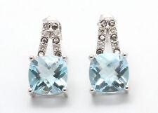 9 Ct Oro Blanco Para Mujer Certificado Diamante & Topacio Azul Pendientes