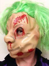 Zombie Troll Mask Blood Halloween 80's Green Hair Trolls Puppet Dwarf Costume