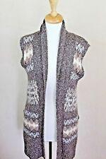 Kenji Long Cardigan Vest  Open Front Sleeveless Alpaca Wool Blend Brown Large