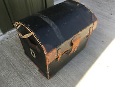 VIntage domed canvas covered wicker steamer trunk shipping chest TC110518A