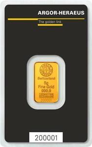 5g Gold Argor Heraeus .9999 Gold Bar Sealed in Assay Card #A514
