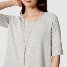 "NEW Iridescent White Stone Crystal Pendant Tassel Necklace 26"" Adjustable"