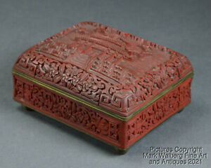 Chinese Carved Cinnabar Lacquer & Blue Enamel Box, Early 20th Century