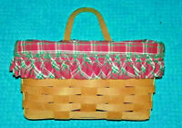 Longaberger Wall Basket 1992 Leather Strap with Plaid liner