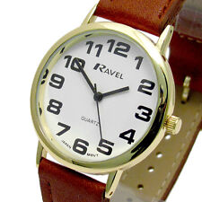Ravel Mens Super-Clear Easy Read Quartz Watch Brown Strap White Face R0105.22.1