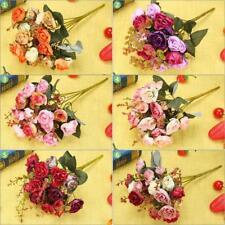 21 Heads Bouquet Silk Rose Artificial Flower Bouquet Fake Dried Flowers Decor