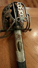 ANTIQUE SCOTTISH ENGLISH BRITISH BASKET HILT BROAD SWORD MAKER MARKED LONDON MKR