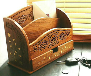 Large carved wooden letter rack with drawer and brass inlaid detail