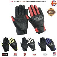 Waterproof YOUTH Boys Girls Kids Motorcycle Motorbike Motocross Gloves Armour UK