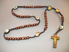 Rosary Necklace Wood Beads Crucifix BROWN Macrame Accent w Saint Images BOGO