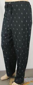 POLO Ralph Lauren Black Pajamas Lounge Sleep Pants Multiple Grey Pony