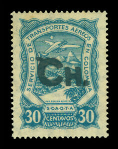 """COLOMBIA 1923 AIRMAIL - SCADTA - CHILE """"Ch."""" handstamp 30c bl Sc# CLCH5 mint MH"""