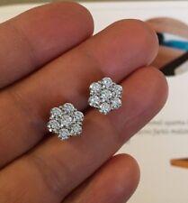 Mens Ladies 14K White Gold Over 1.50 Carat D/VVS1 Diamond Cluster Stud Earrings