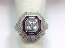 Rhodolite Garnet & Diamond Nouveau Deco Design Ring 7 14k White Gold FMGE
