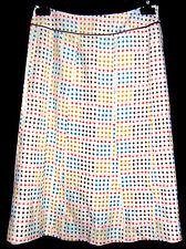 Boden Silk Linen A-Line Skirt sz 6 US Off-White Multicolor Polka Dots