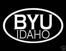 "BYU IDAHO WHITE VINYL WINDOW DECAL 3.5"" X 6"" MORMON LDS"