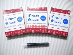 18 x Pilot IC-50 Namiki Capless Fountain Pen Ink Cartridges, Blue (3 Boxes)
