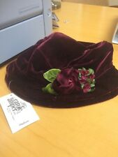 Carole Amper Little Girl Hat - Burgundy with Rose Flower Accents - Medium - NEW!