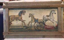 "OLD ANTIQUE WOOD TOYS PICTURE PEDDLE HORSE  ROCKER HORSE  FRAMED 24 1/2""X 14 1/2"