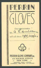 1937 NY Perrin Glove Co Salesmans Calling Card