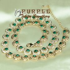 Antique Style 18K Rose Gold Plated Necklace Emerald Made With SWAROVSKI CRYSTAL