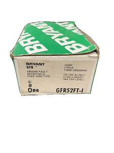 BRYANT  HUBBELL  GFR52FTI 15A 125V GROUND FAULT GFCI DUPLEX RECEPTACLE  IVORY