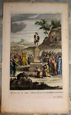 18th c.Handcolored Engraving:THE IDOLATRY OF THE ISREALITES by S & N Buck 1732