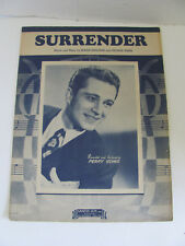 VTG 1946 SHEET MUSIC SURRENDER RECORDED BY PERRY COMO