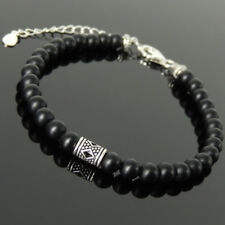 Men's Women Bracelet 5mm Matte Black Onyx Sterling Silver Bead Clasp Link 1316