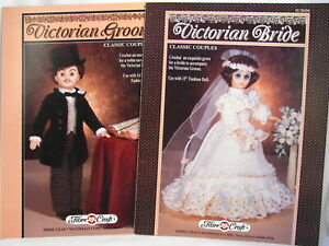 Victorian Bride and Groom Doll Clothes Crochet Patterns Fibre Craft FCM194 195