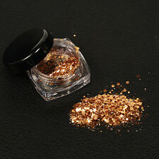 Neu Nagel Art Glitzer Puder Dust Acrylic UV Gel Maniküre-Dekor Rosa Gold 2g/box