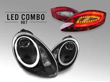 05-08 Porsche 987 Boxster Cayman 991 LED Black Bi-Xenon Headlight +LED Tail Lamp
