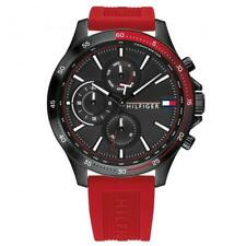 Tommy Hilfiger Bank | Red Silicone Strap | Day Date Mens Watch | 1791722