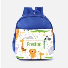 Personalised Cartoon Safari Zoo Animals Boys Kids Backpack, Childrens School Bag